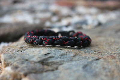 550 Paracord Thin Red Line Survival Round Braid Bracelet