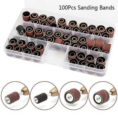 104Pcs Sanding Band Drum Sleeve 60 120 320 Grit 4 Mandrel For Dremel Rotary Tool