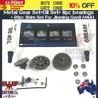 Upgrade Metal Gear Shim Set Gearbox Bearing Oil JinMing Gen9 M4A1 Gel Blaster OZ
