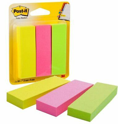 3M Post It Notes Self Adhesive Page Markers Tags Pack of 3 x 100 76mm x 25mm X4P