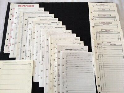 FILOFAX-Personal 20 Different Vintage Inserts-HUGE JOB LOT OVER 190 Sheets