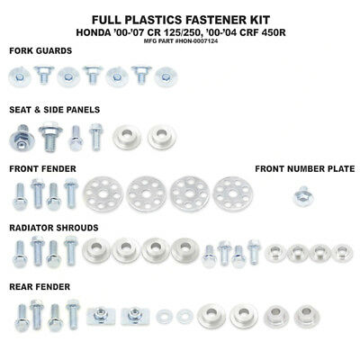 Full Plastics Fastener bolt Kit. Honda crf 450 2000 - 2004