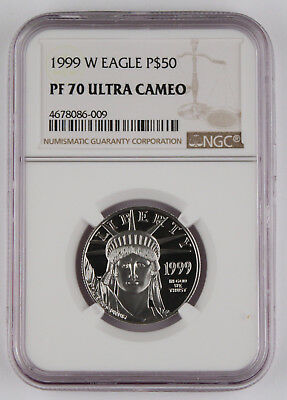 1999 W $50 1/2 Oz 9995 PLATINUM American EAGLE Proof Coin NGC PF70 UC