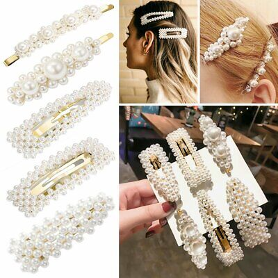 Pearl Hair Clip Women's Girls Slide Grips HairPin Bridal Barrette Accessories UK