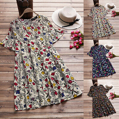 Women Boho Floral Short Sleeve Sundress Ladies Holiday Casual  Tunic Dress 6-18