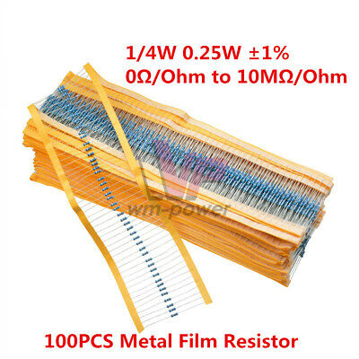 100PCS 1/4W 0.25W Metal Film Resistor ±1%- Full Range of Values 0Ω to 10MΩ/Ohm