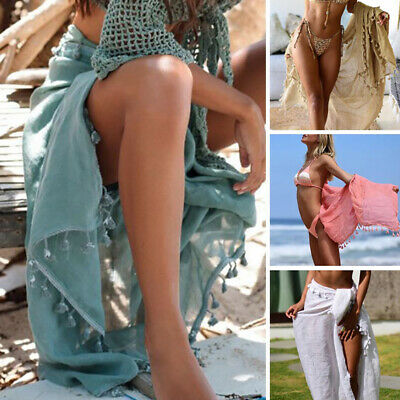 49d2757c27f Women Summer Beach Bikini Cover Up Wrap Skirt Scarf Pareo Swimwear Sarong  Dress