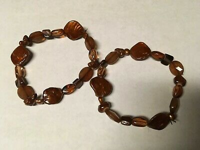 Dyed Bronze Mother Of Pearl & Glass Bead Stretch Bracelets
