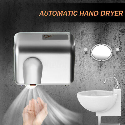 2300W Stainless Steel Hand Dryer Fast Automatic Warm Air Drier Toilet Hotel Home