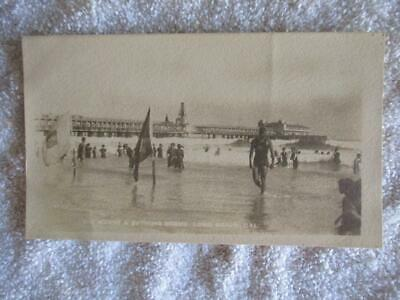 Early 1900s J. Bewere Post Card Long Beach Waves Crashing the Shore with L Pier