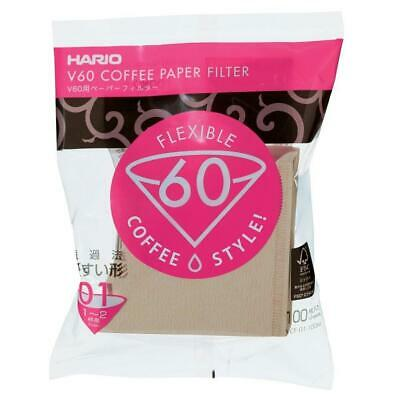Hario V60 01 Flexible Coffee Filters Natural Unbleached 100 Filters  Japan