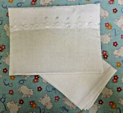 New pretty white toy pram cot bed sheet and pillow set baby doll teddy bear