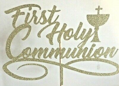Cake Topper First Holy Communion Gold Glitter