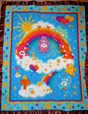 Care Bear Quilt Baby Toddler Satin Binding Blue Brown Rainbow Stars Share Wish