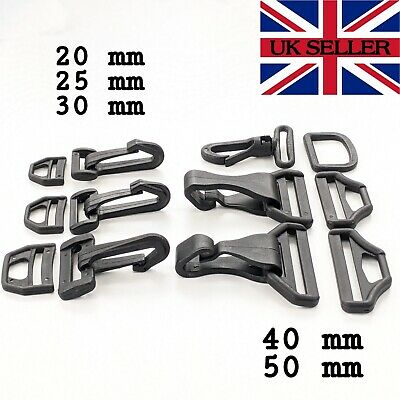 2x Black Plastic Snap Hooks Dog Snap and D Ring Webbing Various Sizes
