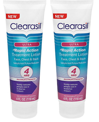 Clearasil Ultra Rapid Action Facial Treatment Moisturizing Lotion, 4 Oz (2 Pack)