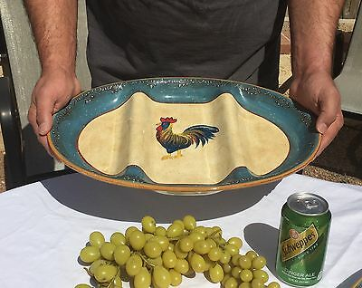 "Rooster Cafe Oval Platter 3-Section Divided Serving Tray 17"" by Noble Excellence"