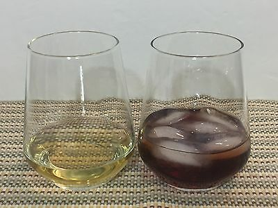2 Stemless Wine Clear Glasses Brandy Cognac Whisky Lowball Liquor Glasses (A17)