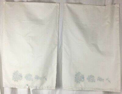 Vintage Set Floral Bird Pillowcase Pair to Embroider 30 x 20 Chic Shabby Cottage