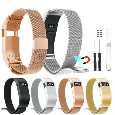 Milanese Magnetic Loop Stainless Steel Watch Band With Case For Fitbit Charge HR