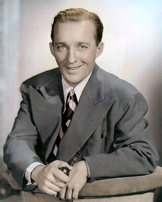 "BING CROSBY HOLLYWOOD LEGEND ACTOR & SINGER 8x10"" HAND COLOR TINTED PHOTOGRAPH"