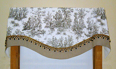 FRENCH COUNTRY VALANCE in BLACK AND WHITE TOILE WITH TICKING TRIM
