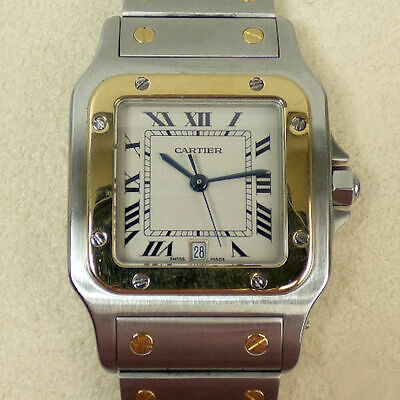 Cartier Santos Stainless Steel & 18 Ct Gold Wristwatch With Box & Papers G.w.o.