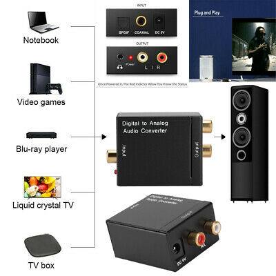 Digital Optical Coaxial Coax Toslink to Analog Audio Converter Adapter RCA L/R