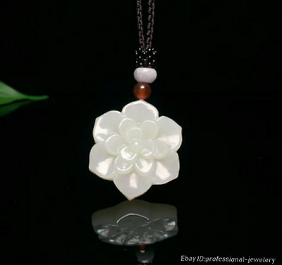 34mm collect China Natural HeTian jade Hand engraving Pendant Necklace PCSH