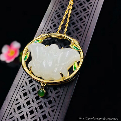 30mm collect China Natural HeTian jade Hand engraving Butterfly Pendant PCSH