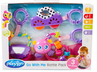 Playgro Go with Me Rattle Pack  3 Fun pieces for Baby  Purple  Brand New