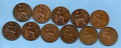 1911 -  1936 HALFPENNY COINS. 11 x GEORGE V 1/2d. IN PLEASANT CONDITION.