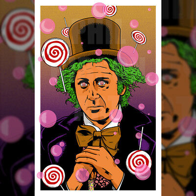 Original Willy Wonka Art Print Blu Hat Poster Charlie and the Chocolate Factory