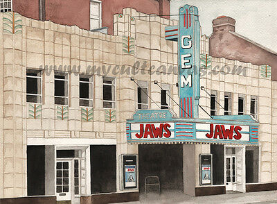 Original Classic Cinema Theatre Art Print Movie Poster Jaws Shark Gem Print DECO