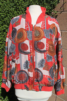 Women's 100% Silk bomber zippered Jacket TOP Size M RED AZTEC COIN WESTERN