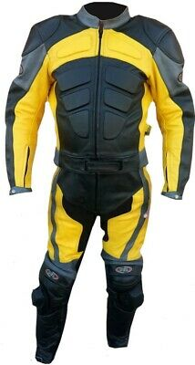 Mens Genuine Cow mild Leather Motorbike Motorcycle full Suit With Armour