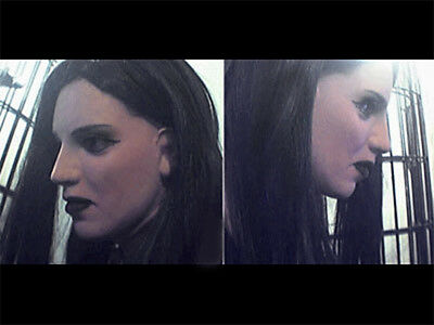 Latexmaske DARK LADY +WIMPERN - Real. weibliches Frauengesicht Trans Emo Gothic
