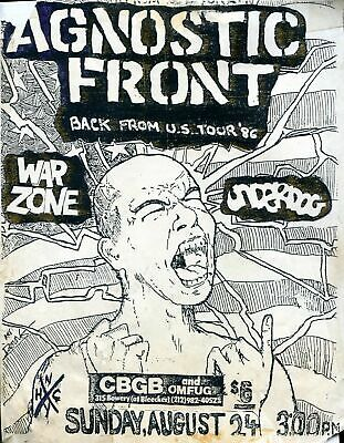 Agnostic Front - Concert VINTAGE BAND Music POSTERS Rock Travel Old Advert #ob