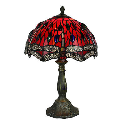 NEW Stained Glass Red Dragonfy Table Lamp - Tiffany Emporium,Lamps