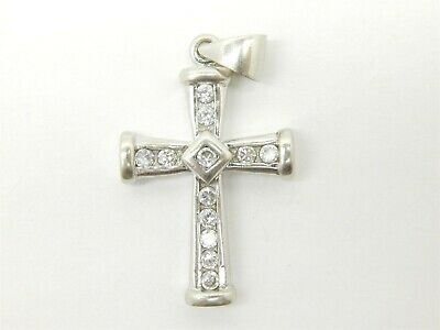 Large Beautiful Sterling Silver 925 Cross with Cubic Zirconia 1.2 TCW PGDA Penda