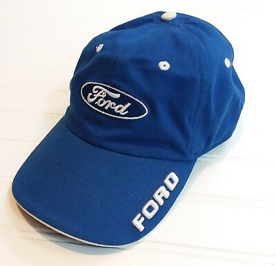 FORD Embroidered Baseball Hat Blue White Adjustable Strap Ford Motor Company