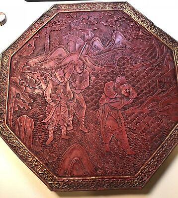 Antique Chinese Lacquer Cinnabar Hexagonal Panel Late 18 Early 19Century