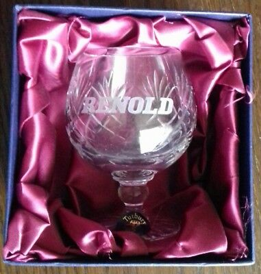 COLLECTORS TUTBURY CRYSTAL CUT CRYSTAL BRANDY GLASS for RENOLD, MANCHESTER