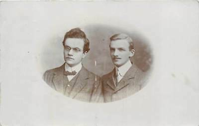 Studio Portrait of two young men, Real Photo Postcard Posted 1907