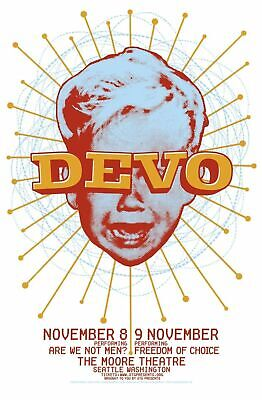 Devo - Concert VINTAGE BAND POSTERS Song Rock Travel Old Advert #ob