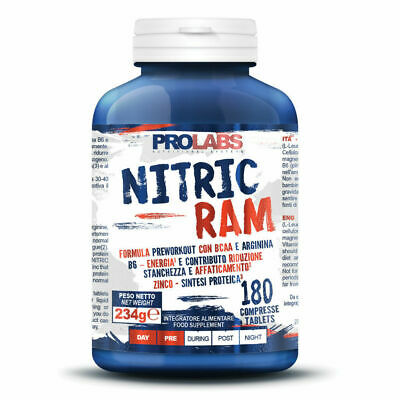 PROLABS NITRIC RAM 180 cpr Pre-Workout con BCAA + ARGININA + VITAMINA B6 + ZINCO