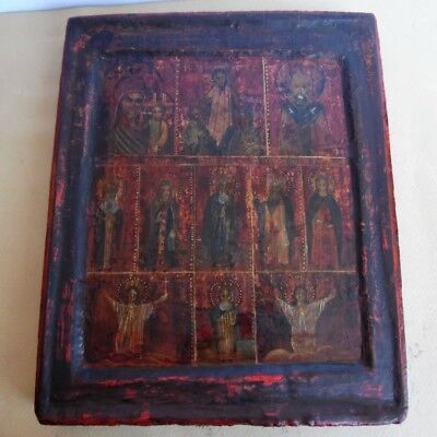 Russian Big Painting Orthodox Wooden Icon  Jesus Christ, Holy Mary, many saints.
