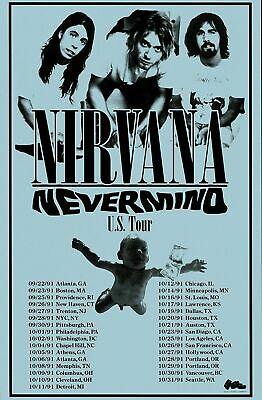 Nirvana US Tour - Concert VINTAGE BAND POSTERS Song Rock Travel Old Advert #ob