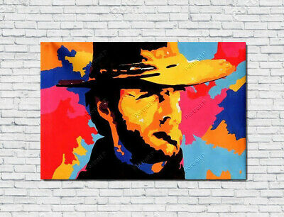 Clint Eastwood Oil Painting Portrait Pop Art Hand-Painted Canvas NOT a Print 36""