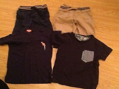 Indigo Marks and Spencer Kids Shorts 3-4. Plus two T Shirts not M&S